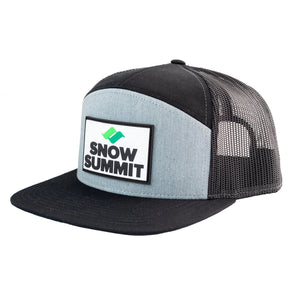Heather/Black Snow Summit 7 Panel Trucker Hat with Rubber Patch Logo