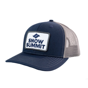 Navy/Grey Snow Summit Trucker Hat with Emboidered Patch Logo