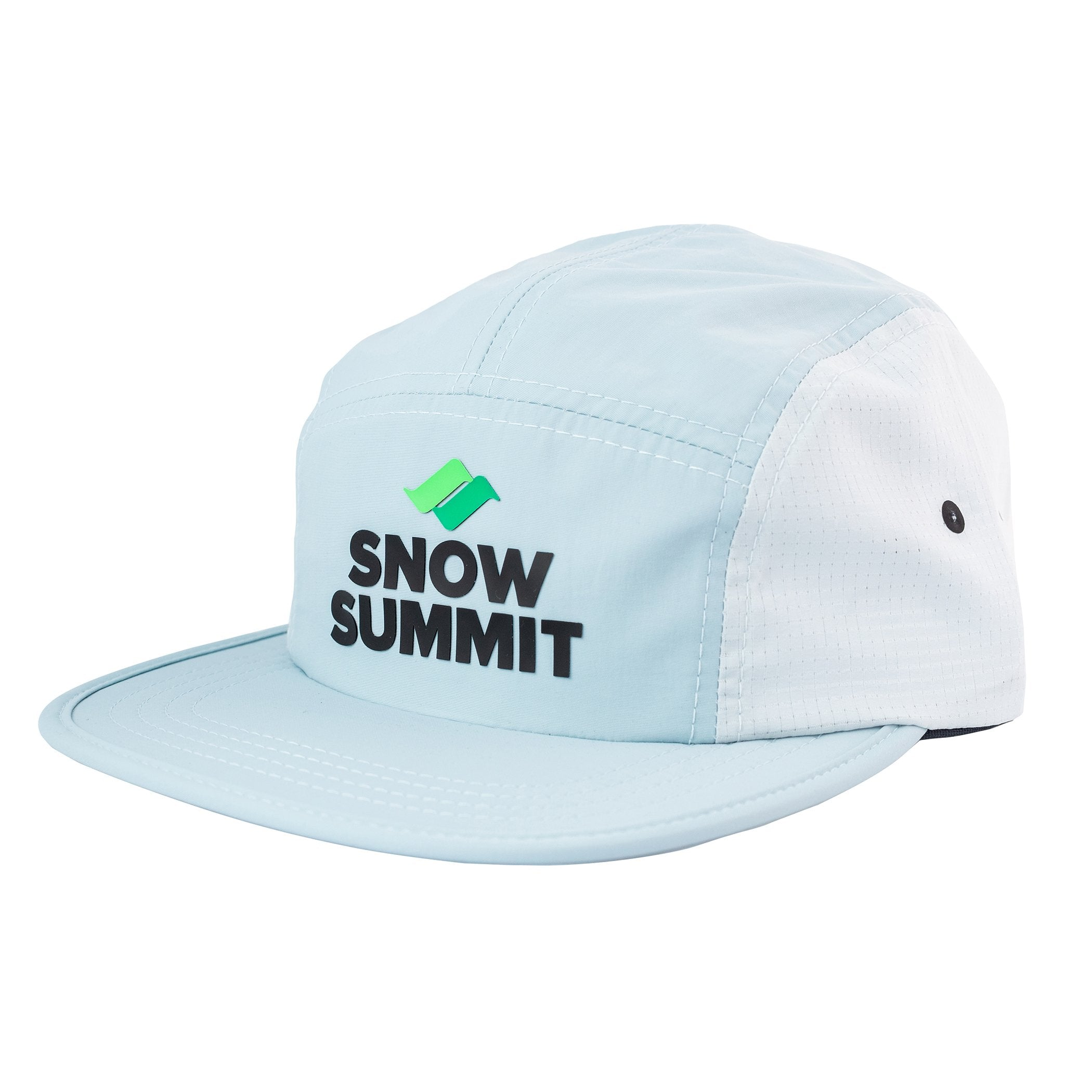 Blue/White Snow Summit PCT 5 Panel Cap with Silicone Transfer Logo