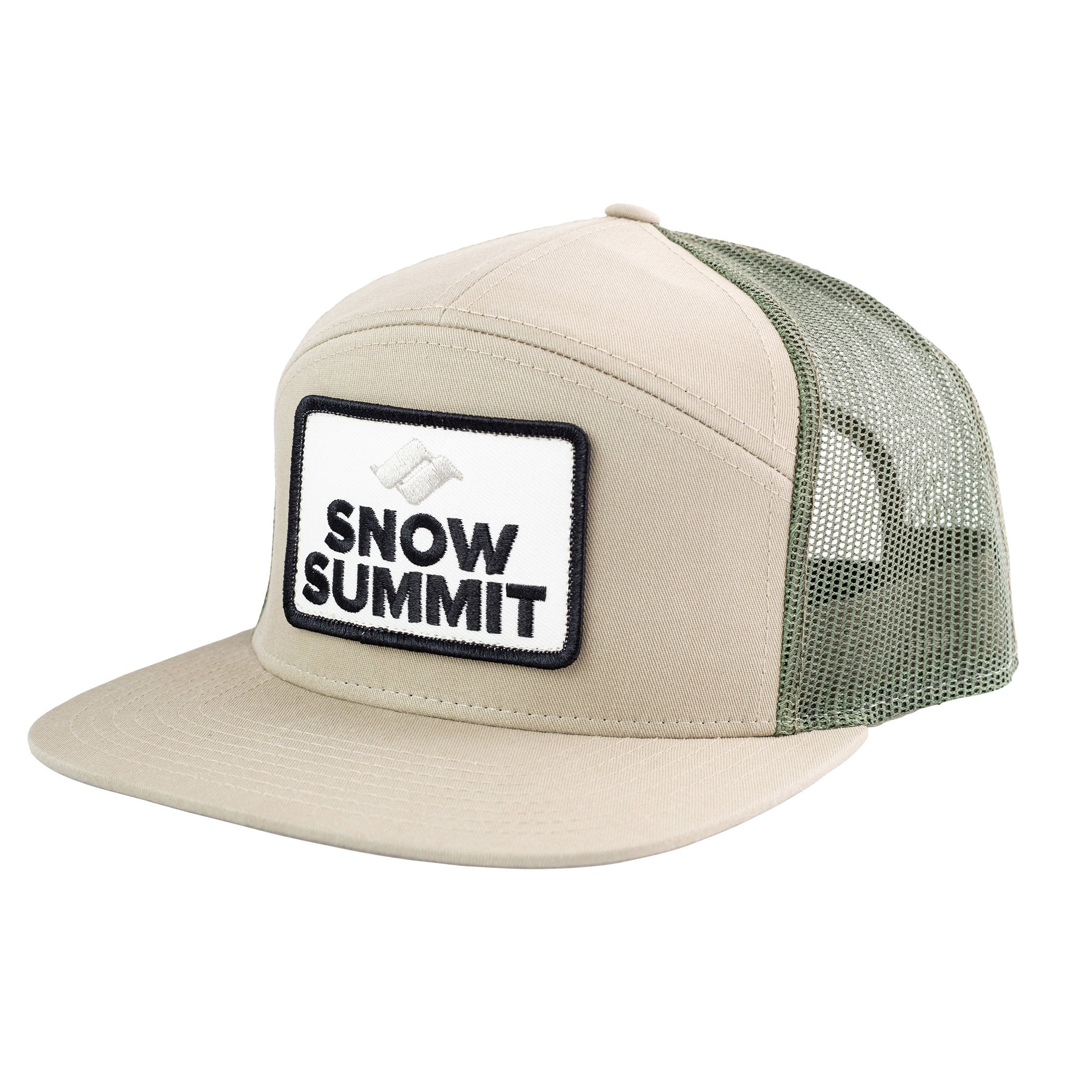 Khaki Snow Summit 7 Panel Trucker Hat with Emboidered Patch Logo