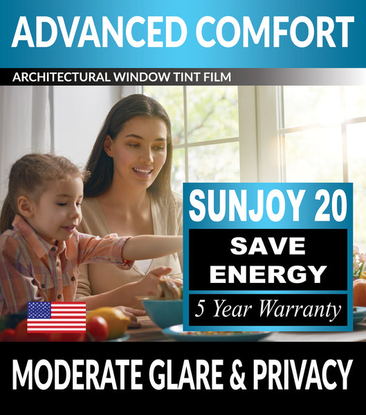 SunJoy 20 Moderate Glare Moderate Privacy Energy Efficient Window Tint Film For Home/Commercial Tinting