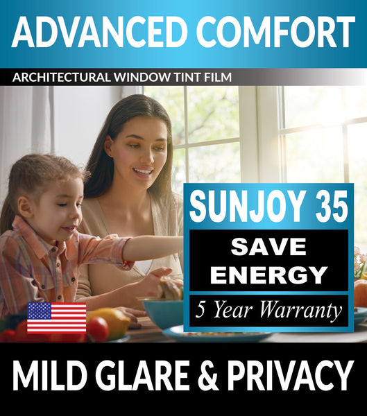 SunJoy 35 Mild Glare Mild Privacy Energy Efficient Window Tint Film For Home/Commercial Tinting