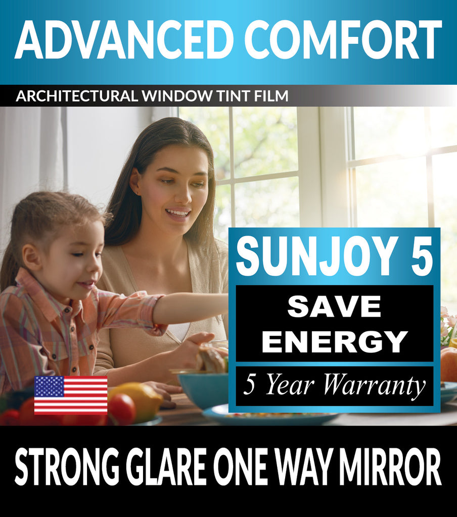 SunJoy 5 Strong Glare One Way Mirror Privacy Energy Efficient Window Tint Film For Home/Commercial Tinting