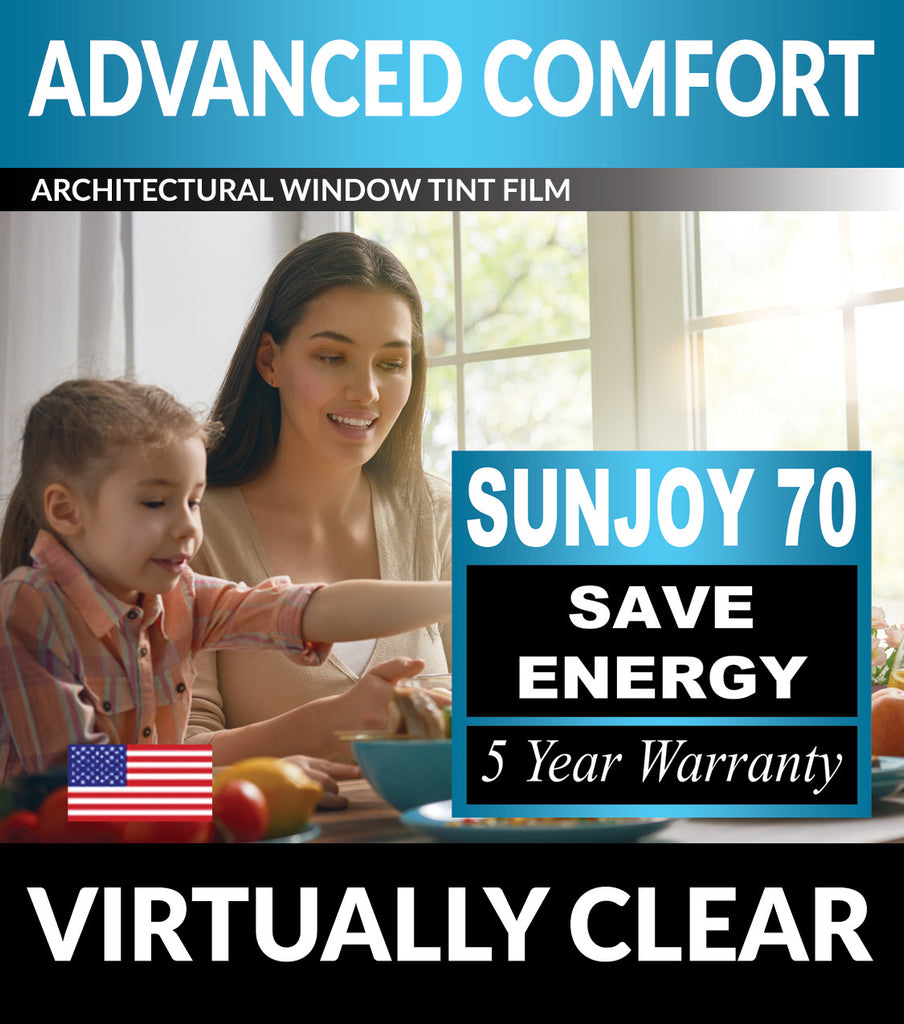 SunJoy 70 Virtually Clear Energy Efficient Window Tint Film For Home/Commercial Tinting