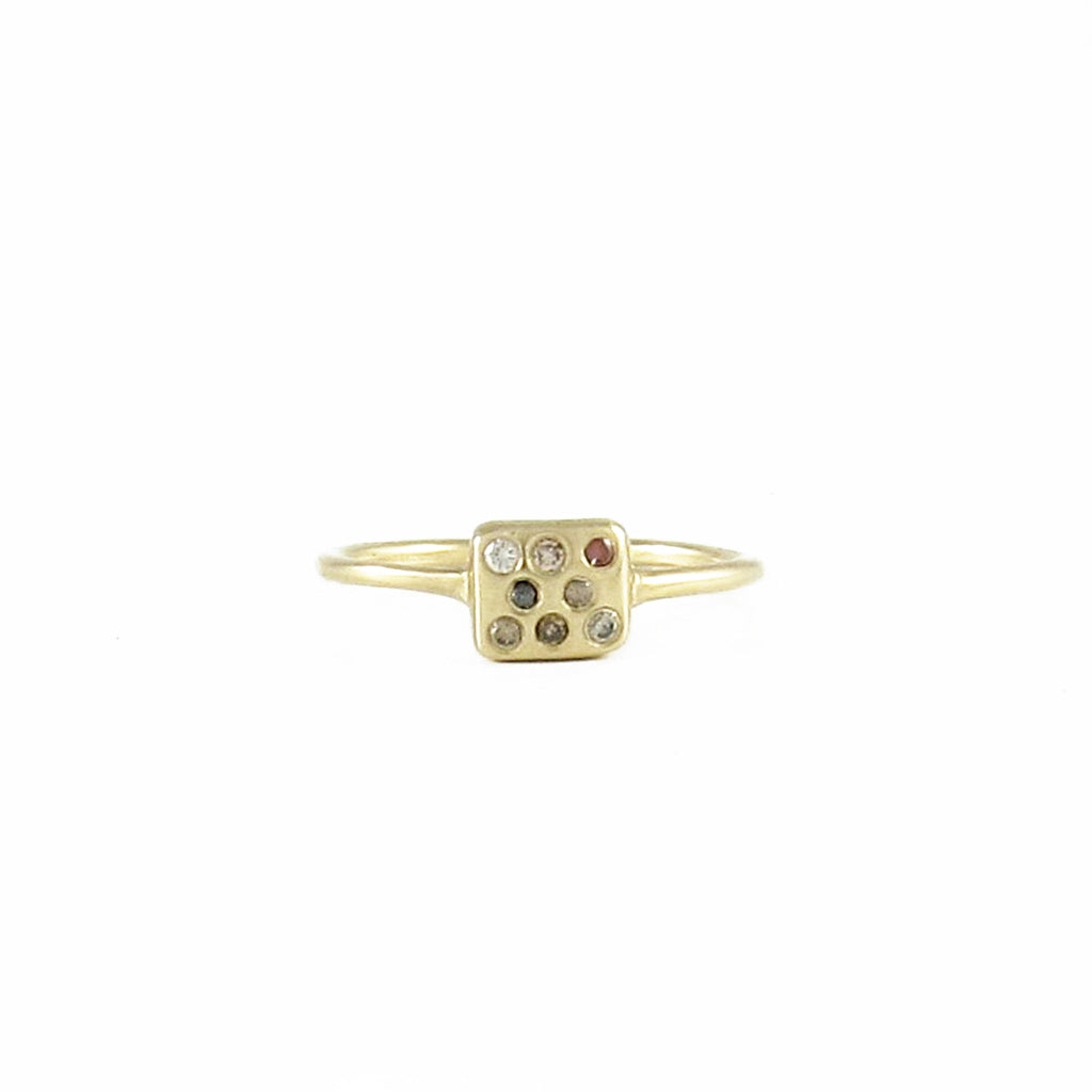 Tiny Square Ring with Champagne Diamonds