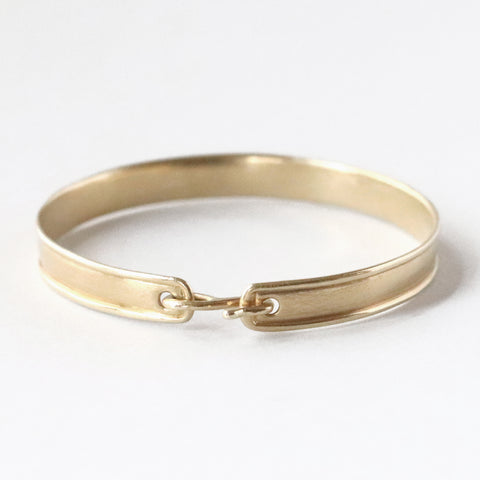 Ridged Bangle with Hook Closure