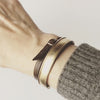 Ridged Cuff Bracelet with Delicate Double Leather Strap