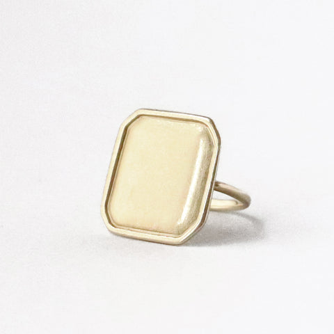 One of my favorite rings, and one of the pieces that I wear every single day. A large irregular octagonal ring that straddles the line between modern and old. The thin rounded band makes it supremely comfortable.