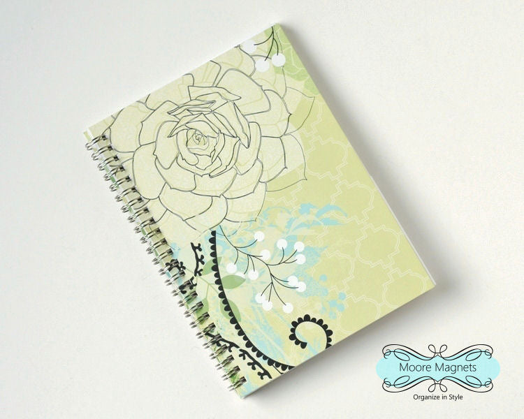Large Coupon Organizer with 14 Pockets - Pre Printed Labels Included - Lime Succulent Floral