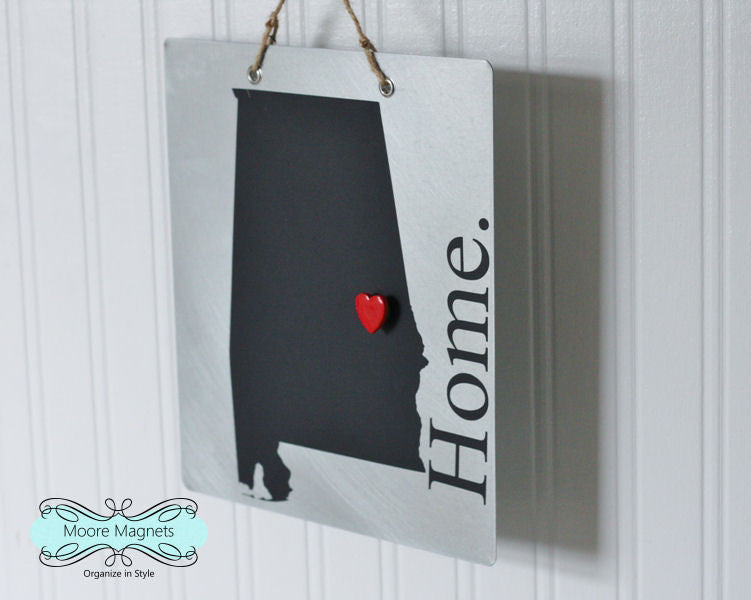 Alabama State Silhouette Home Chalkboard Sign with Heart Magnet