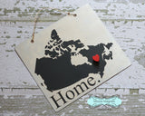 Canada Silhouette Home Chalkboard Sign with Heart Magnet - Medium size