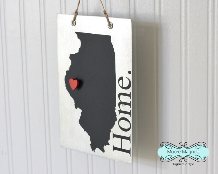 Illinois State Silhouette Home Chalkboard Sign with Heart Magnet - Medium size