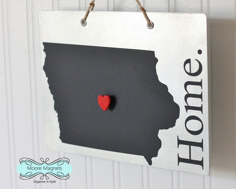 Iowa State Silhouette Home Chalkboard Sign with Heart Magnet - Medium size