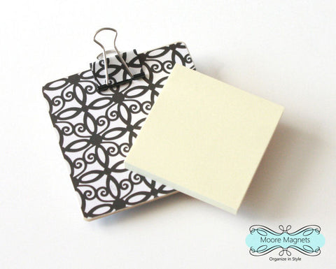 Magnetic Sticky Note Holder - Black and White Scrollwork