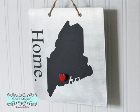 Maine State Silhouette Home Chalkboard Sign with Heart Magnet
