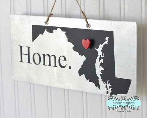 Maryland State Silhouette Home Chalkboard Sign with Heart Magnet - Medium size