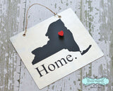 New York State Silhouette Home Chalkboard Sign with Heart Magnet