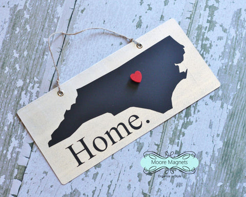 Ready to ship - North Carolina State Silhouette Home Chalkboard Sign with Heart Magnet - Medium size