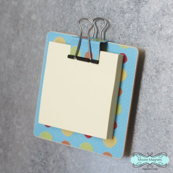 Magnetic Sticky Note Holder - Blue with Colorful Dots