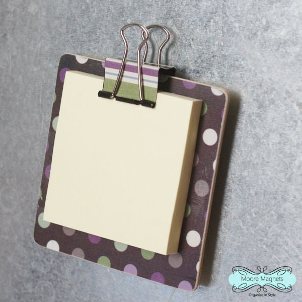 Magnetic Sticky Note Holder - Purple polka dots