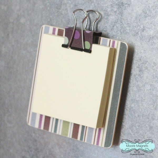 Magnetic Sticky Note Holder - Purple and Green Stripe