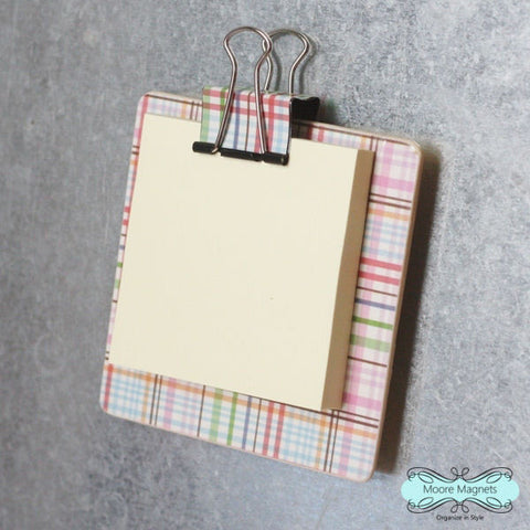 Magnetic Sticky Note Holder - Colorful Plaid