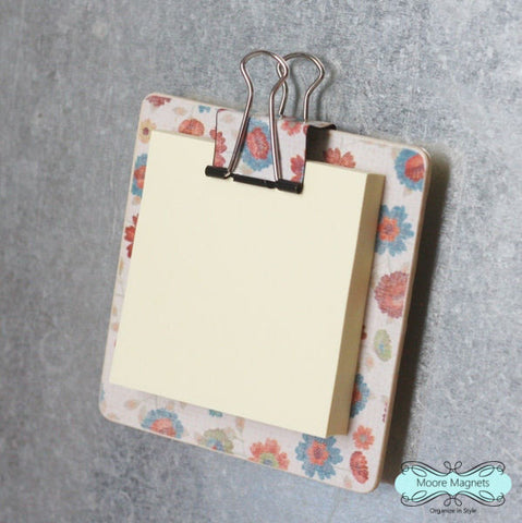 Magnetic Sticky Note Holder - Flowers