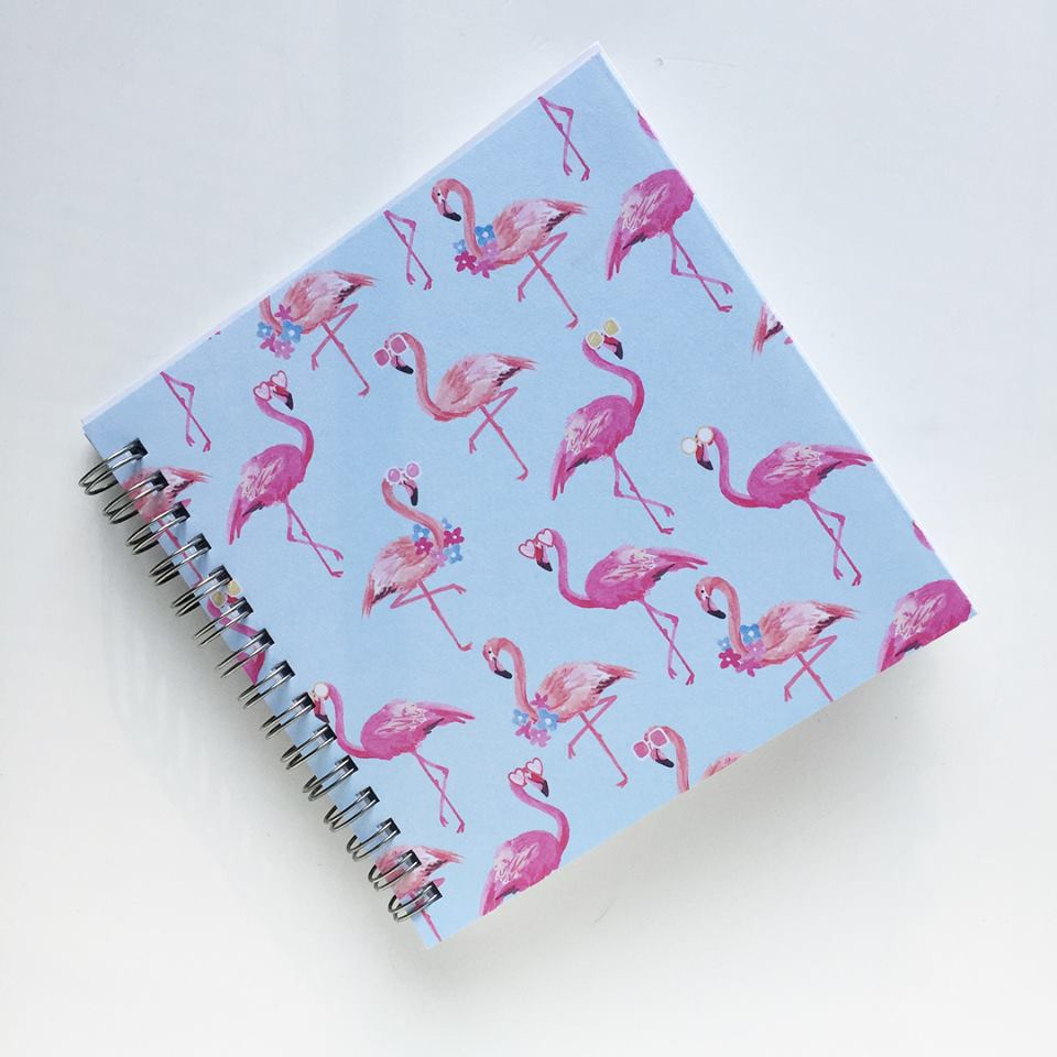 Small Coupon Organizer with 14 Pockets - Pre Printed Labels Included - flamingos