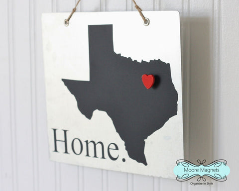 Texas State Silhouette Home Chalkboard Sign with Heart Magnet