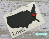 USA Silhouette Love Chalkboard Sign with Heart Magnet - Medium size