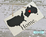 USA and Australia Silhouette Home Chalkboard Sign with Heart Magnet - Medium size