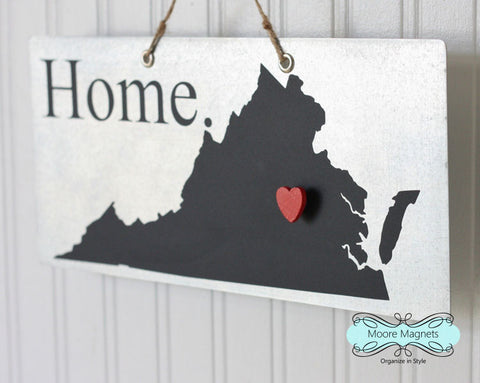 Virginia State Silhouette Home Chalkboard Sign with Heart Magnet - Medium size