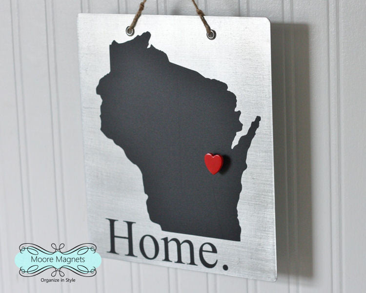 Wisconsin State Silhouette Home Chalkboard Sign with Heart Magnet