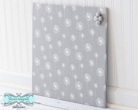 Ready to ship - Magnetic Bulletin Board 16 inch x 16 inch Gray and White Dandelion Fabric