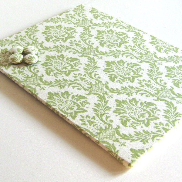 magnet-board-covered-in-green-and-cream-damask-fabric-8-5-inch-x-11-inch
