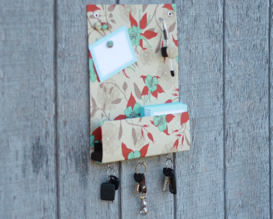 message-center-magnet-board-with-key-hooks-beige-with-turquoise-and-rust-flowers-fabric