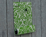 message-center-magnet-board-with-pencil-holder-spring-green-floral-fabric