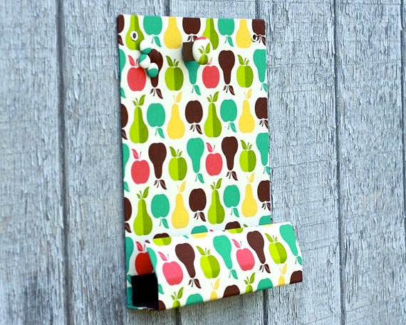 message-center-magnet-board-with-pencil-holder-apples-and-pears-fabric