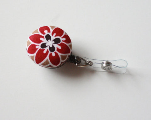 badge reel id holder red flower