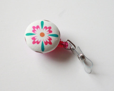 badge reel id holder pink and blue flower