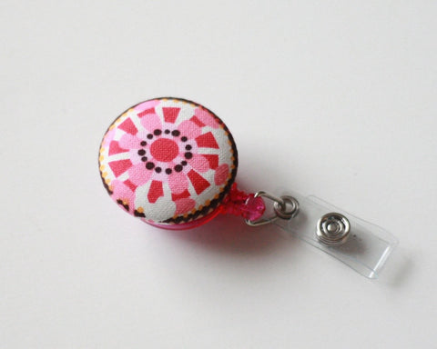 badge reel id holder pink flower