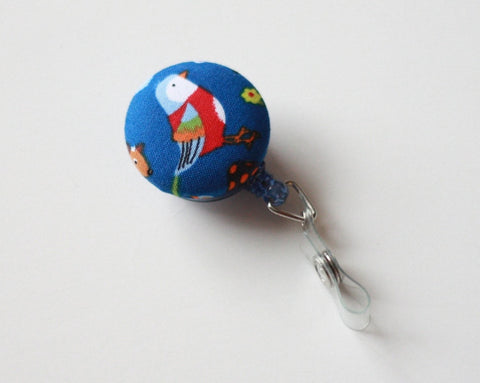 badge reel id holder red bird