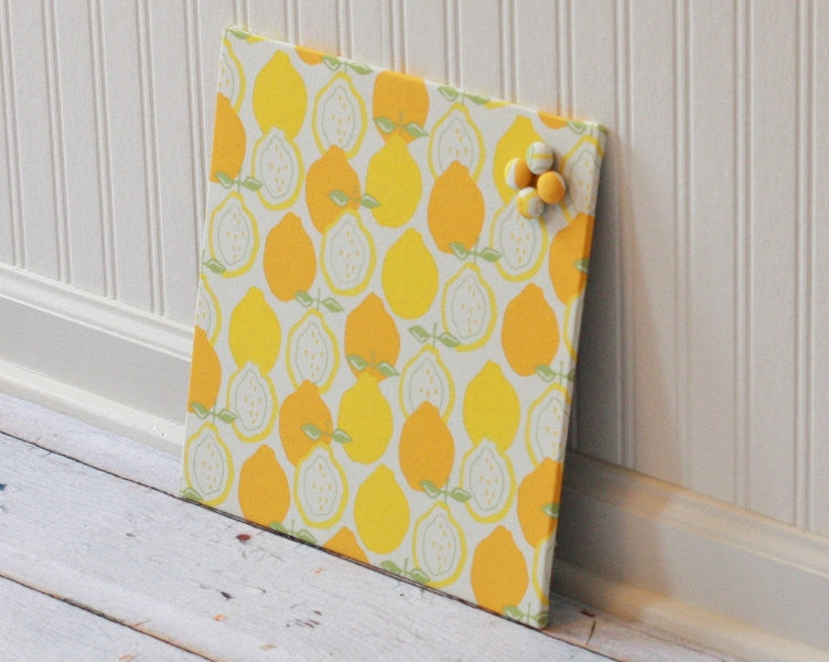 fabric-magnet-board-magnetic-bulletin-board-note-board-memo-board-kitchen-organization-12-inch-x-12-inch-covered-in-lemons-fabric