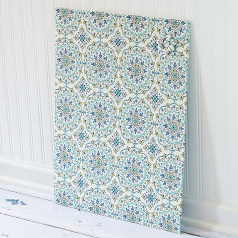 wall-mount-magnet-board-18-inch-x-24-inch-no-frame-green-and-blue-ornate-ovals-on-light-cream