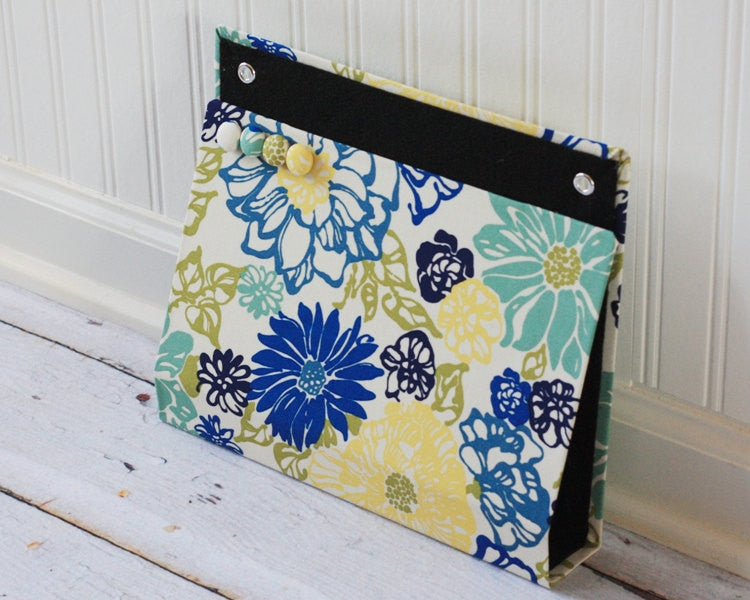 large-wall-pocket-magnet-board-file-and-mail-holder-blue-green-yellow-floral-fabric