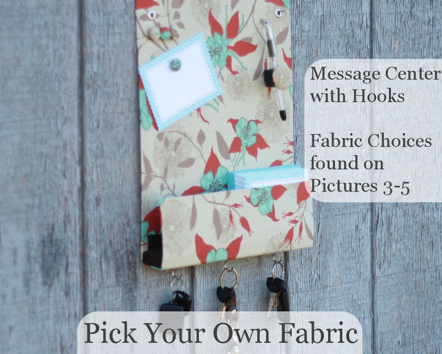 message-center-magnet-board-with-key-hooks-pick-your-own-fabric