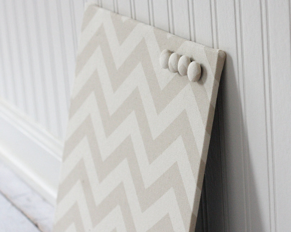 Beige Chevron Fabric covered magnet board 12 inch x 12 inch ...