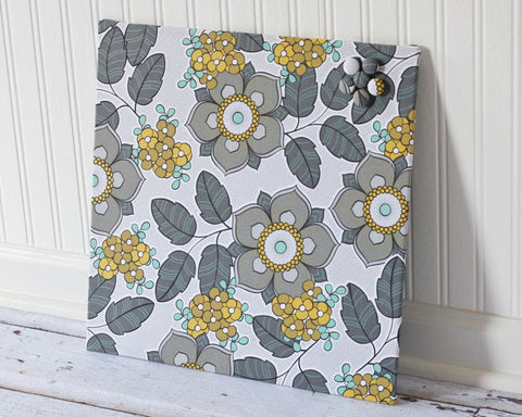 magnetic-board-16inx16in-no-frame-gray-mustard-and-turquoise-floral-fabric