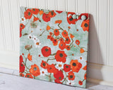 magnetic-bulletin-board-note-board-magnet-board-for-office-organization-12inx12in-no-frame-poppies-on-greenish-gray