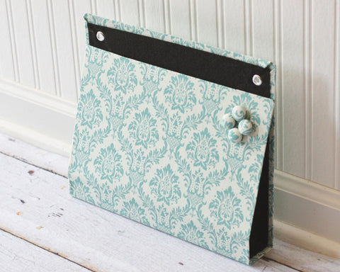 large-wall-organizer-pocket-magnet-board-file-and-mail-holder-blue-damask-on-linen-white-fabric